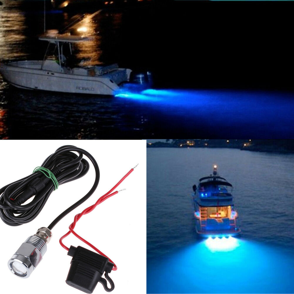 6 Led Blue Underwater Marine Boat Drain Plug Light For