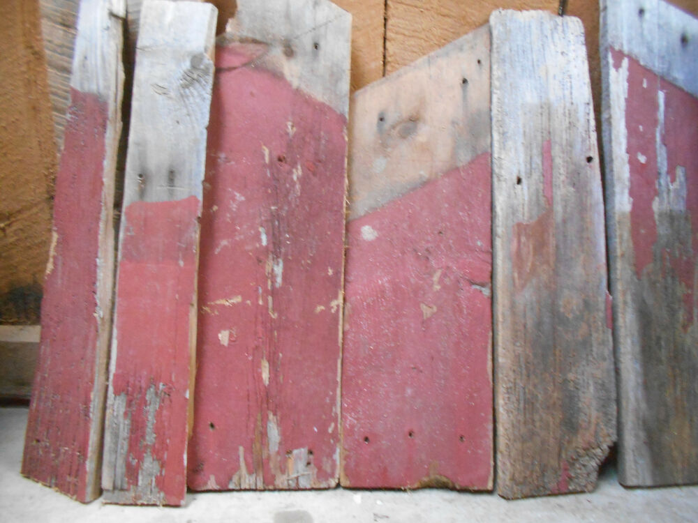 Short reclaimed old red barn white pine board wood sign for Recycled wood board