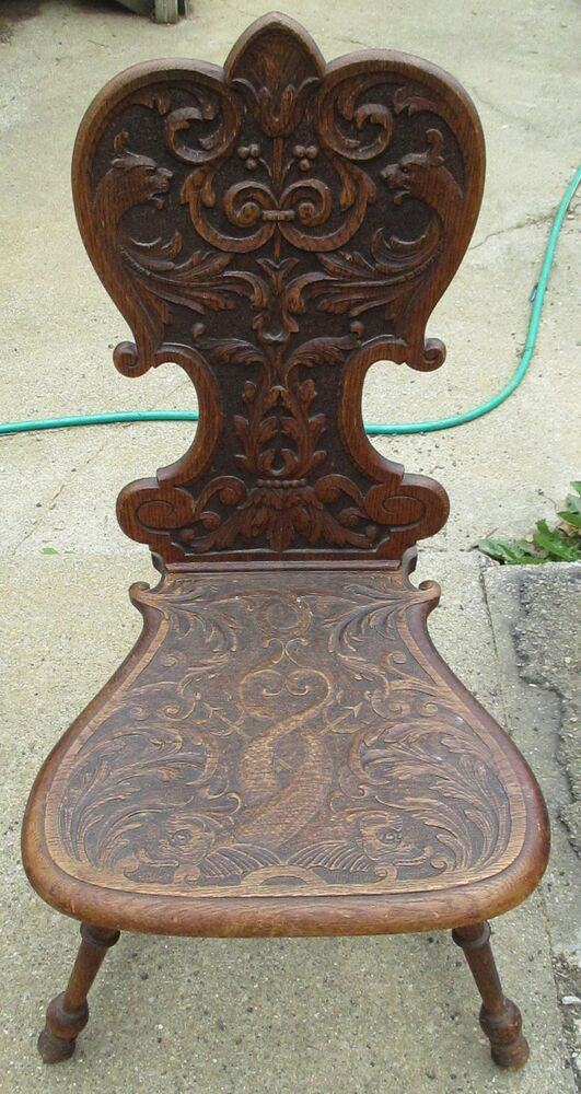 antique hand carved wood chair unique very ornate ebay