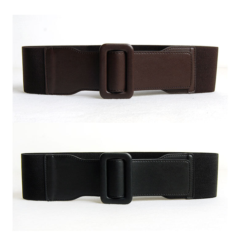 womens faux leather elastic stretch girdle wide belts 28