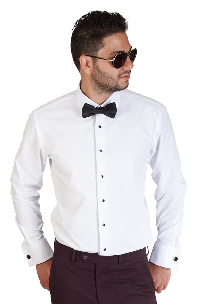 New Mens Slim Fit White Tuxedo Dress Shirt French Cuff Lay