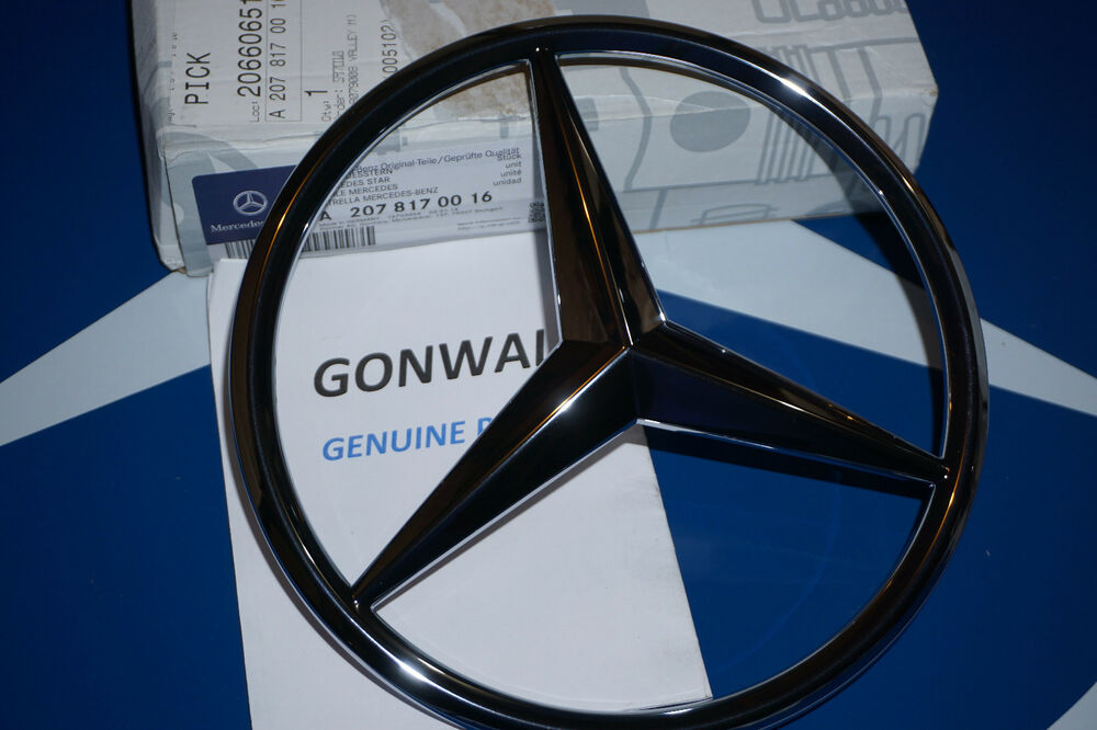 Mercedes benz chrome front grill star emblem for c class for Mercedes benz front emblem