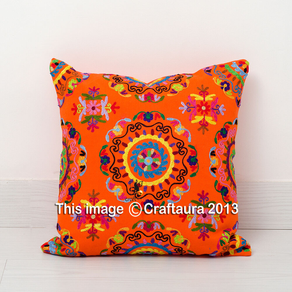 Oversized Decorative Pillow Covers : Suzani Embroidered Decor Throw Pillow Cushions Extra Large Pillow Cover 20X20