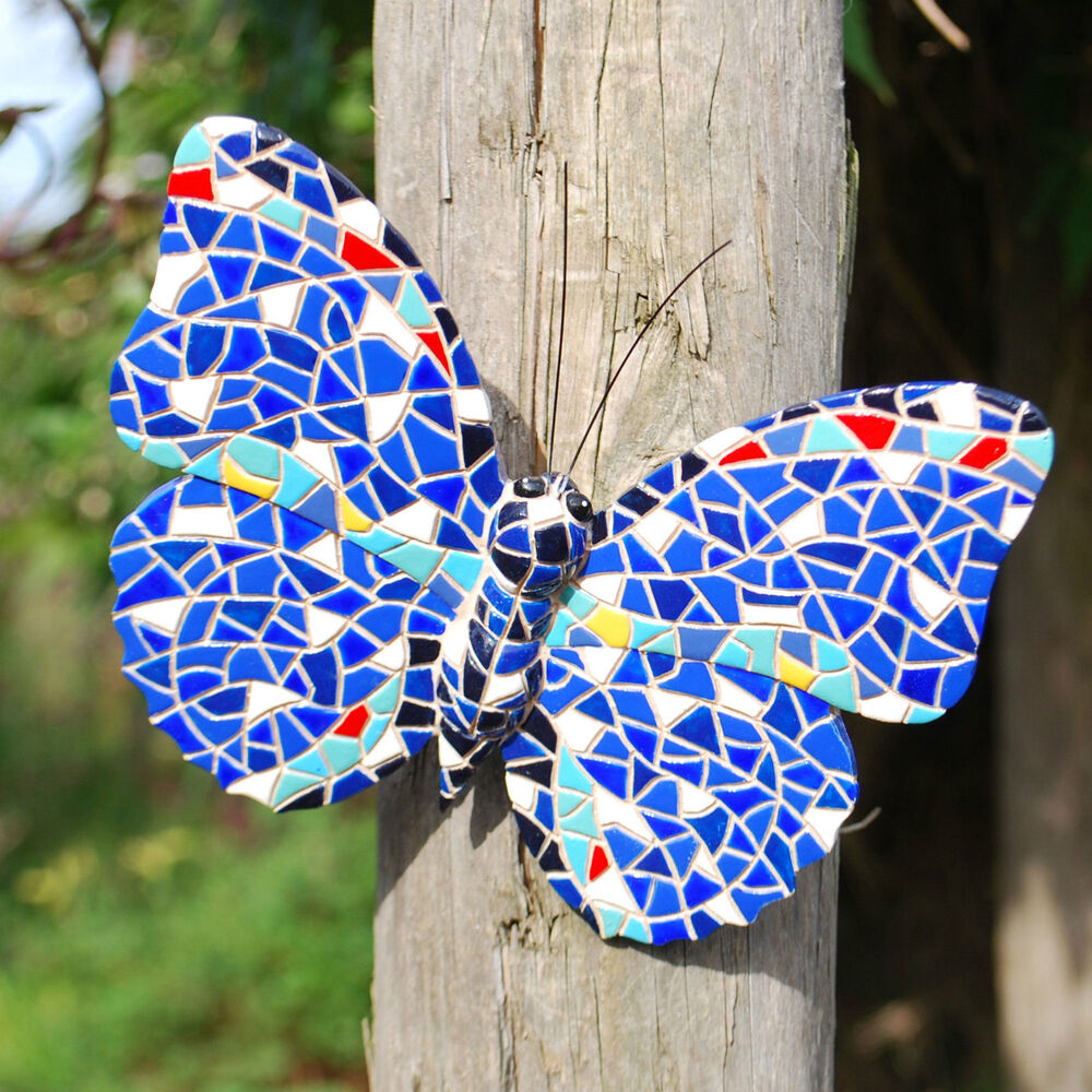Blue mosaic butterfly garden ornament wall art feature in for Outdoor butterfly ornaments