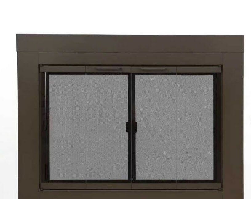 Pleasant Hearth Glass Fireplace Door Abberly Bronze Small