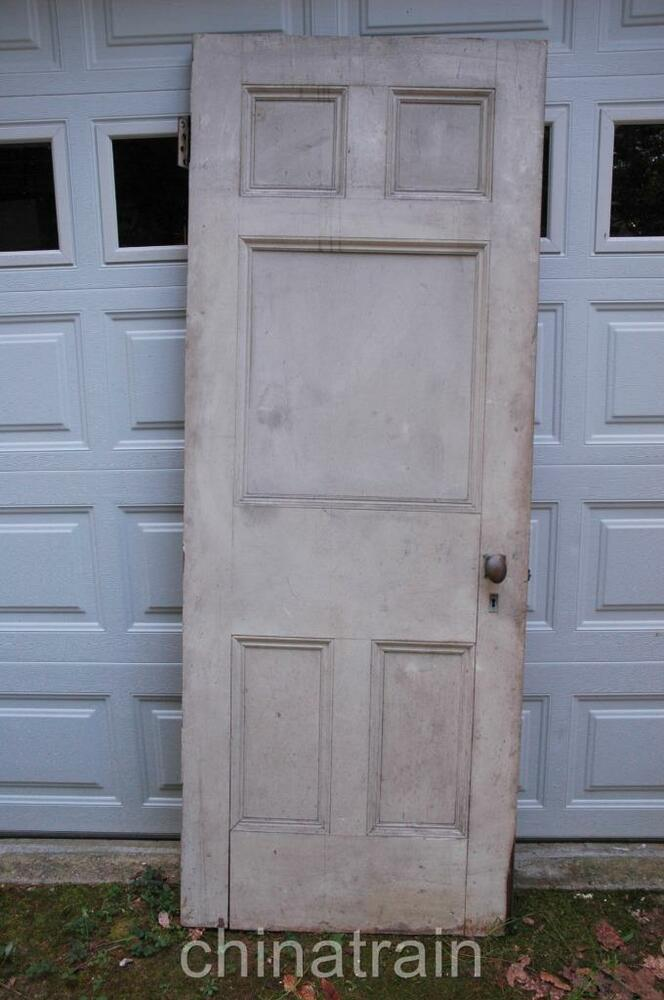 Antique vintage 1880s solid wood 5 panel house door for Vintage solid wood doors
