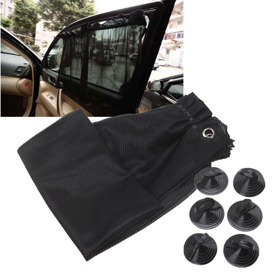 black car sun shade window curtain uv protection mesh fabric 48 74cm suction cup ebay. Black Bedroom Furniture Sets. Home Design Ideas