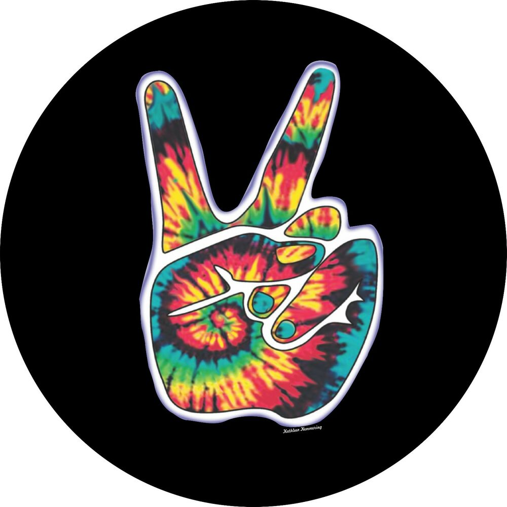 Peace Sign Hand Spare Tire Cover Jeep Rv Camper Trailer Vw