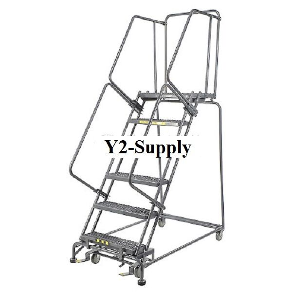 New Perforated 16 Quot W 6 Step Steel Rolling Ladder 14 Quot D Top