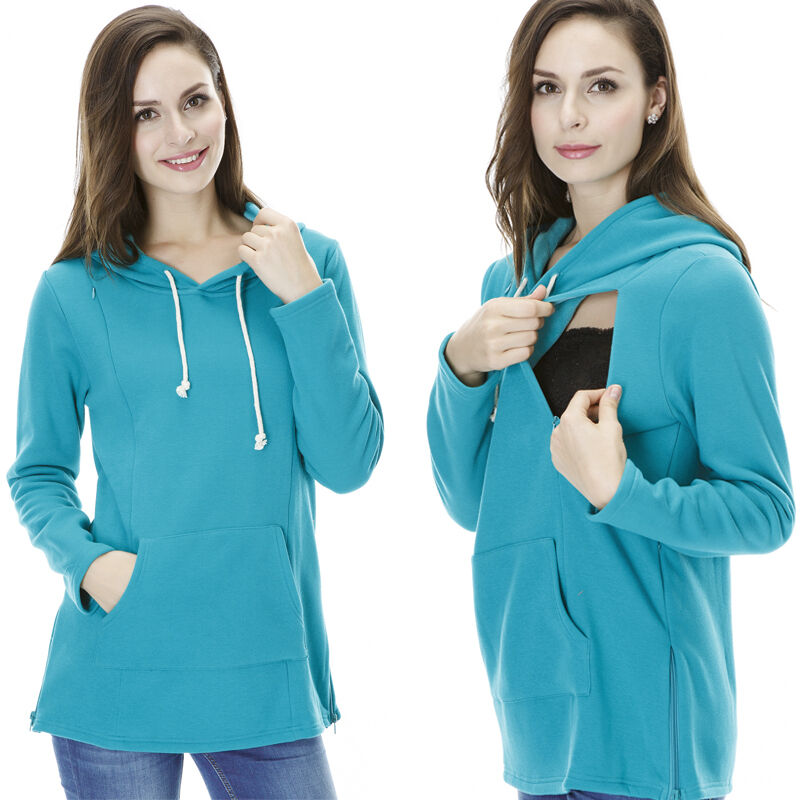 Cotton Maternity Clothes Breastfeeding Tops With Hoodie ...