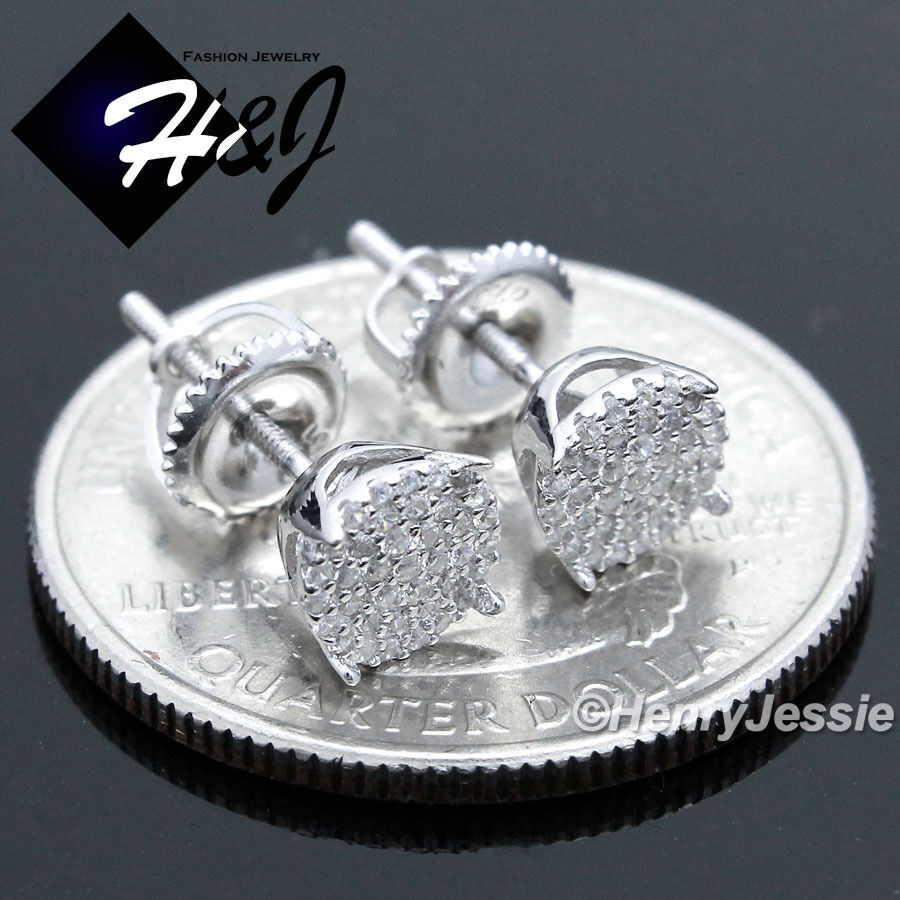 925 sterling silver 6mm lab diamond iced bling round screw. Black Bedroom Furniture Sets. Home Design Ideas