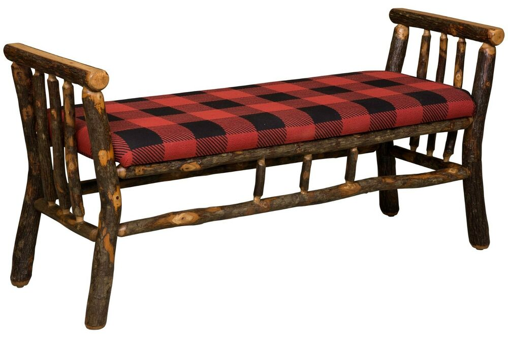 Amish Hickory Log Bench 48 Quot Arms Upholstered Rustic Cabin
