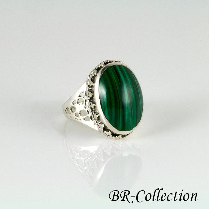 Sterling Silver Ring With Dark Green Malachite Stone