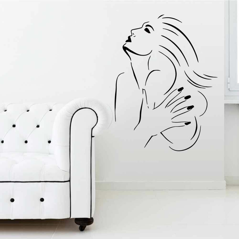 Beauty lady salon wall decal vinyl sticker hair nail shop for Wallpaper decals