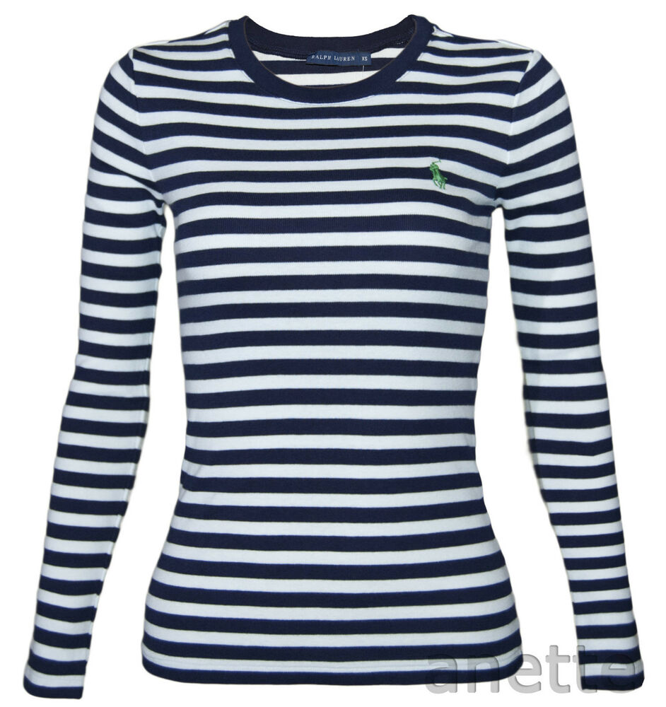 Ralph lauren bnwt ladies striped long sleeve top navy for Black and white striped long sleeve shirt women