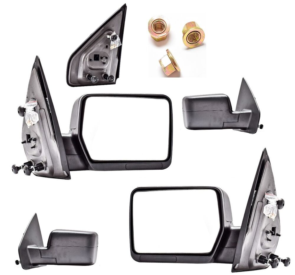 new manual folding towing mirror pair for 2013 2014 ford f150 ebay. Black Bedroom Furniture Sets. Home Design Ideas