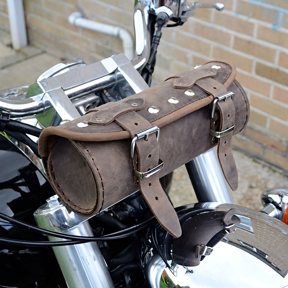 Motorcycle Brown Leather Tool Roll Bag Harley Davidson