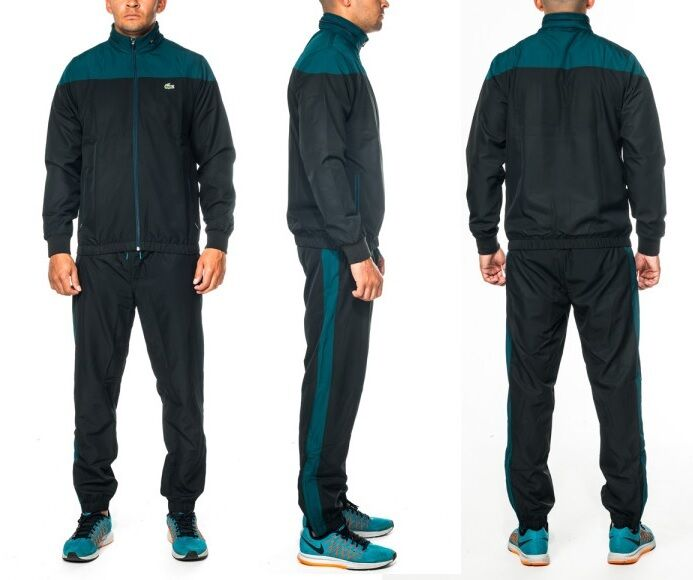 NEW Mens LACOSTE UC8 black Joggers Hooded Jacket Tracksuit ...