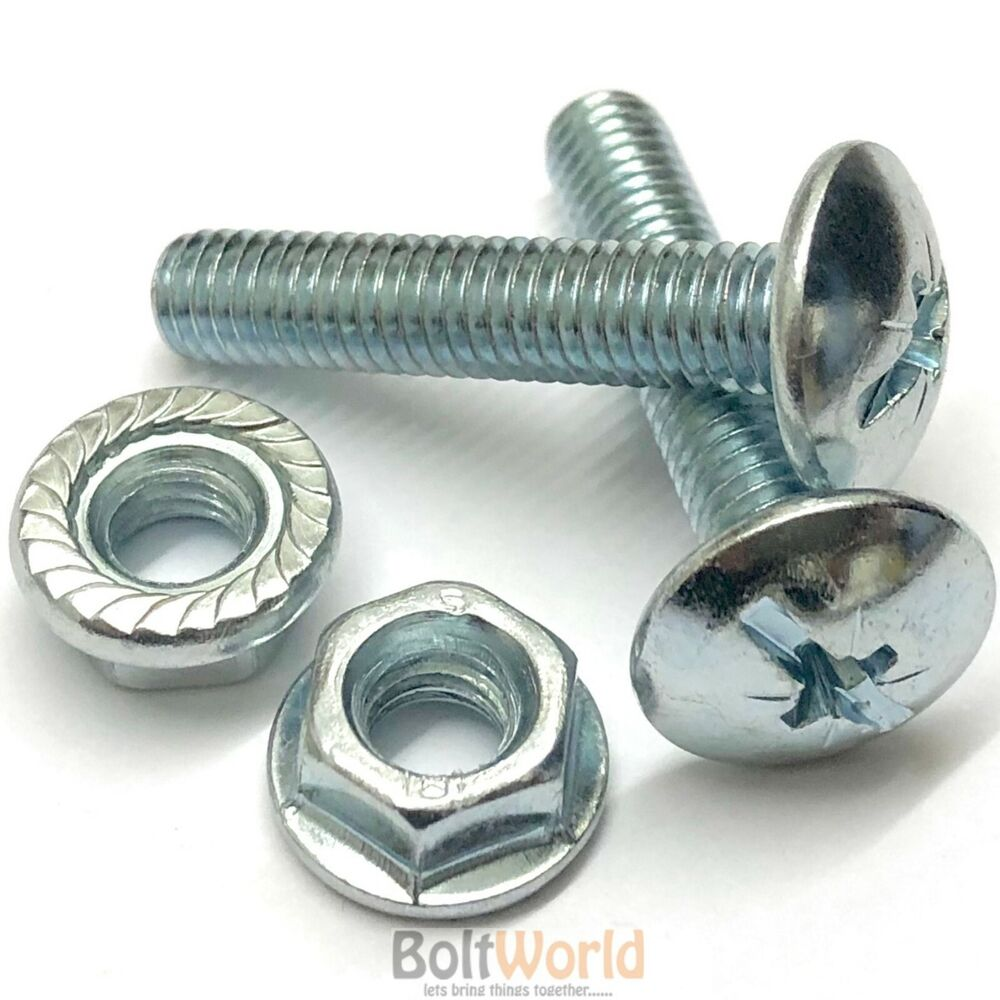 M6 6mm Roofing Cable Tray Bolts With Serrated Flange Nuts