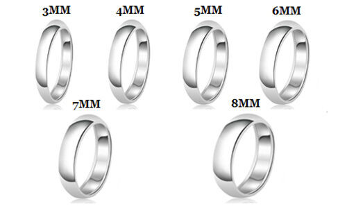 sterling silver 925 solid couples plain comfort fit