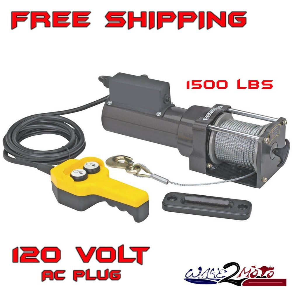 1500 lb pound electric winch lift hoist 120v garage shop for Boat lift motors 12 volt