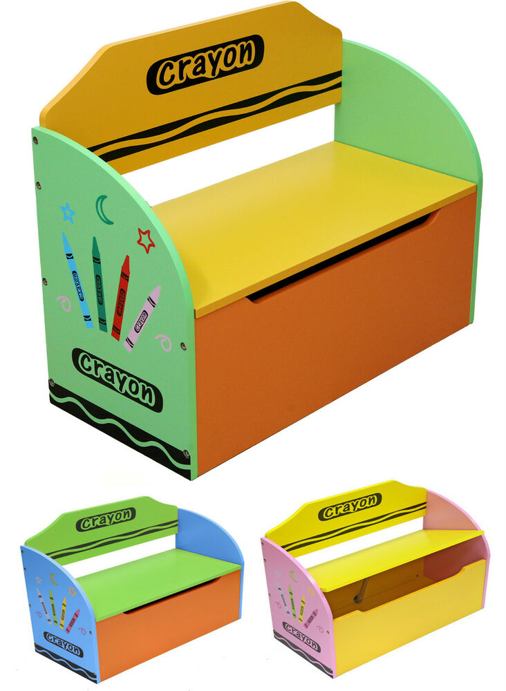 Bebe Style Childrens Crayon Wooden Toy Box Storage Unit