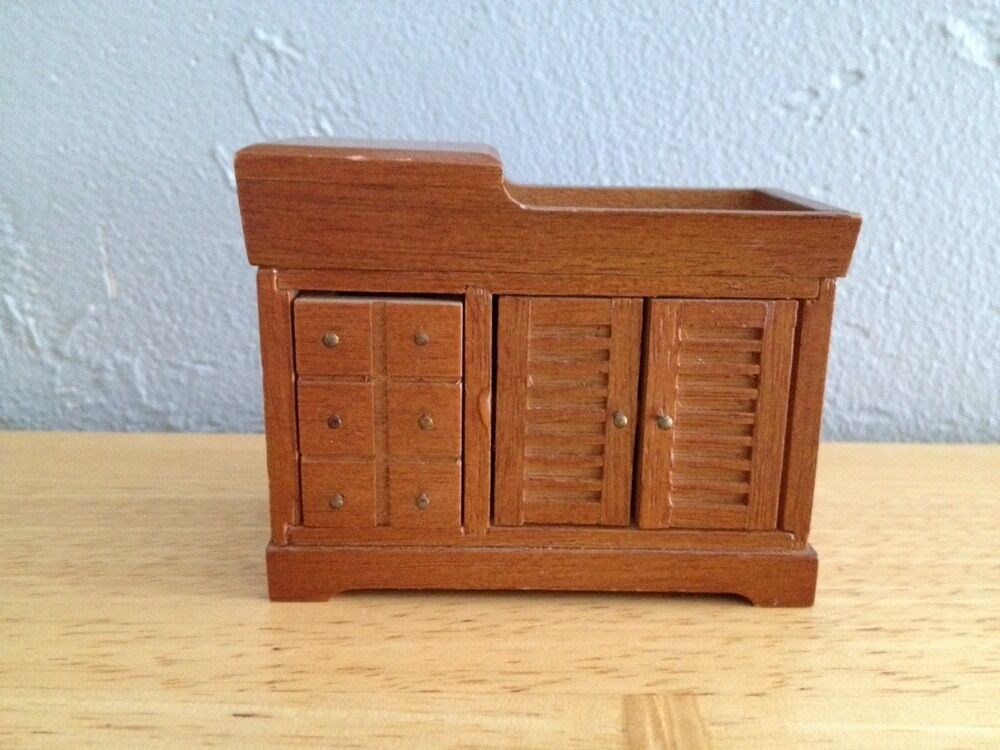 Vintage wood doll house furniture bedroom dry sink cabinet for Classic house furniture galleries