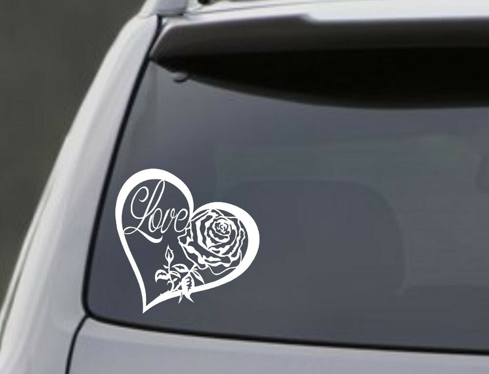 Love Heart Rose Vinyl Decal Sticker Car Window Wall Bumper