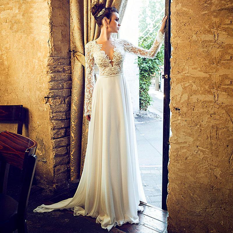 Wedding Gown Simple: Simple V Neck Long Sleeves Bridal Gown Lace White Wedding