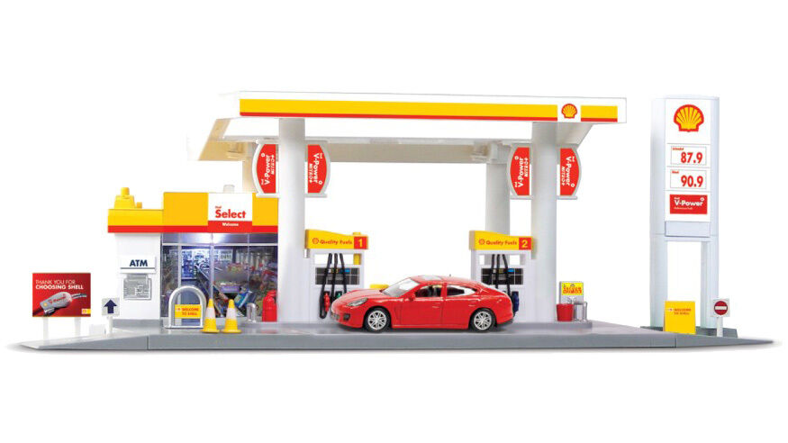 rmz city 1 64 diecast shell service station playset car white model collection ebay. Black Bedroom Furniture Sets. Home Design Ideas