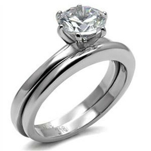 Stainless Steel Wedding Rings: Stainless Steel Round Solitaire Cubic Zirconia Engagement