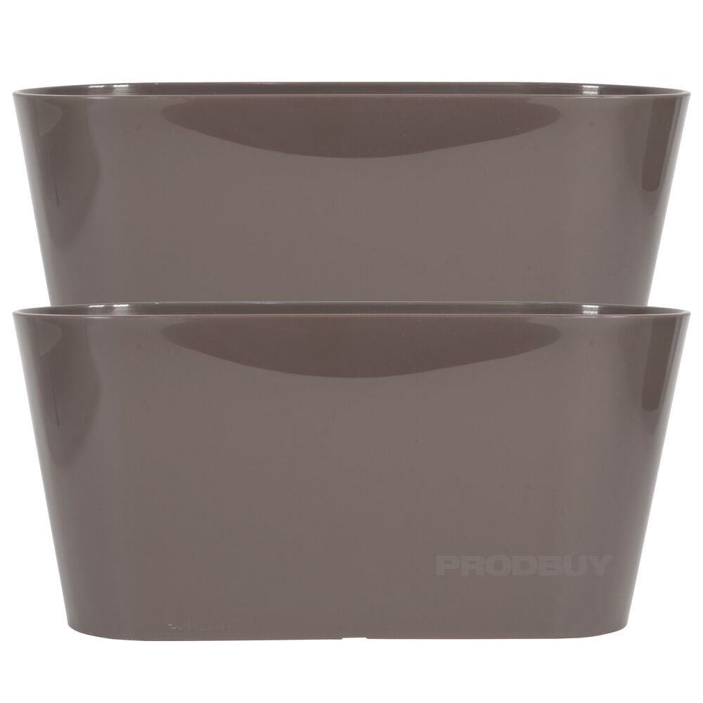Set Of 2 Mocha Oval Indoor Plant Pot Covers Planters Herb