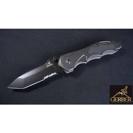 img-Couteau Gerber Kiowa Tactical Tanto Serrated Acier Carbone Manche FRN G41405