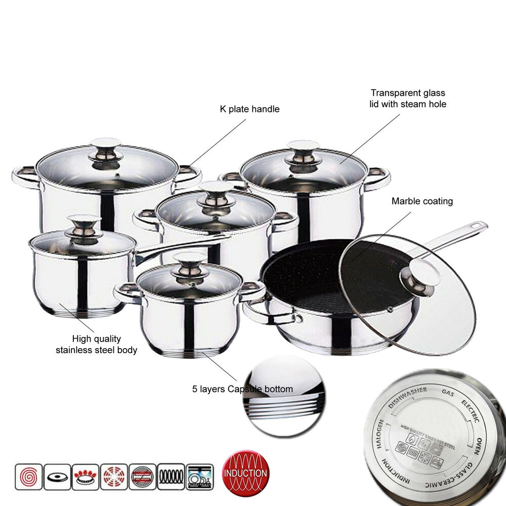 12pc Induction Stainless Steel Kitchen Cookware Pot Pan Set Glass Lids Non Stick Ebay