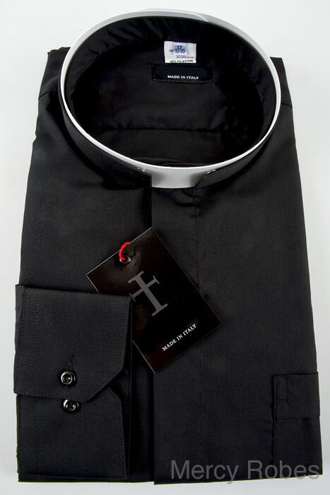 new mens black roman collar clergy shirt tonsure collar