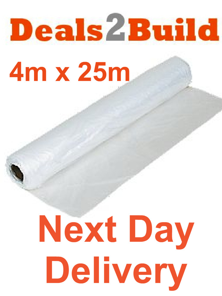 25m x 4m clear polythene plastic sheeting roll 50 micron. Black Bedroom Furniture Sets. Home Design Ideas