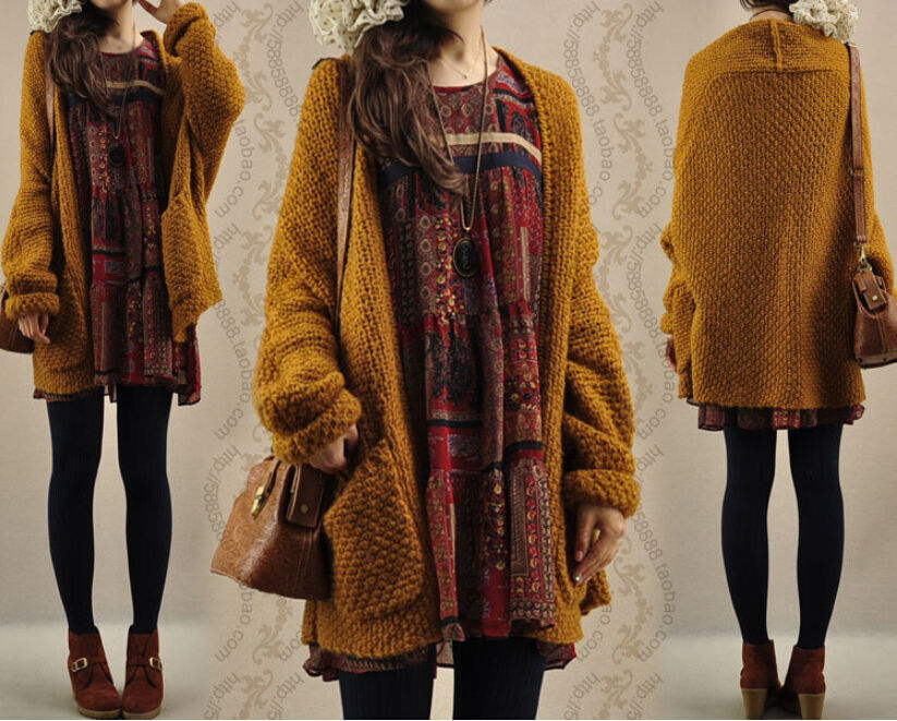 New Womens Oversized Loose Knitted Sweater Batwing Sleeve