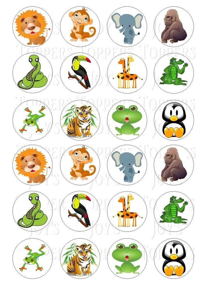 24 JUNGLE ANIMAL ANIMALS CUPCAKE TOPPER WAFER RICE EDIBLE ...