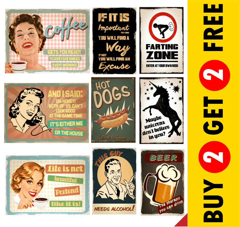 retro vintage quote poster signs a3 a4 funny prints pub