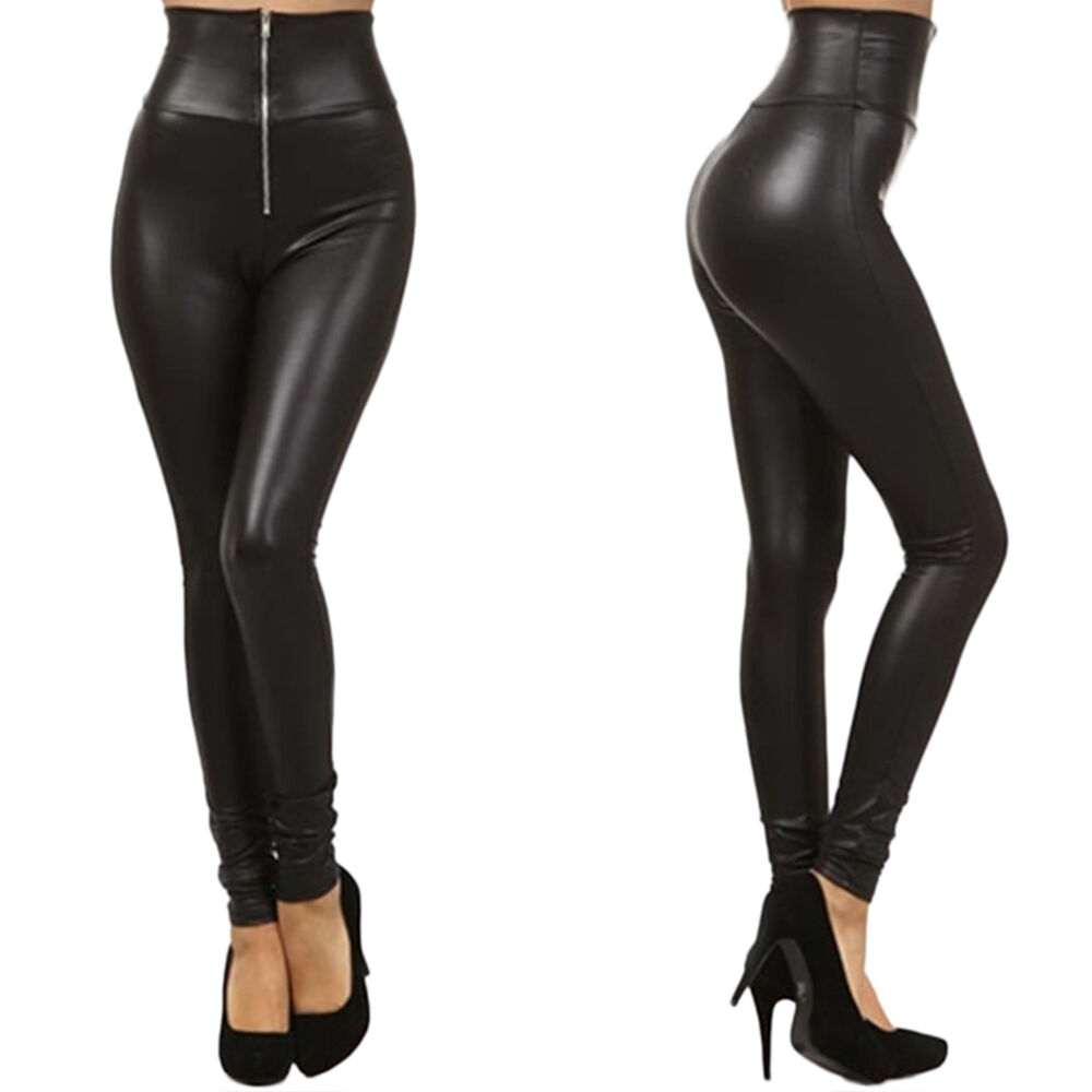 Simple Womens Leggins 2015 Leather Pants Candy Colored High Waist High Elastic Faux Leather Leggings XS ...