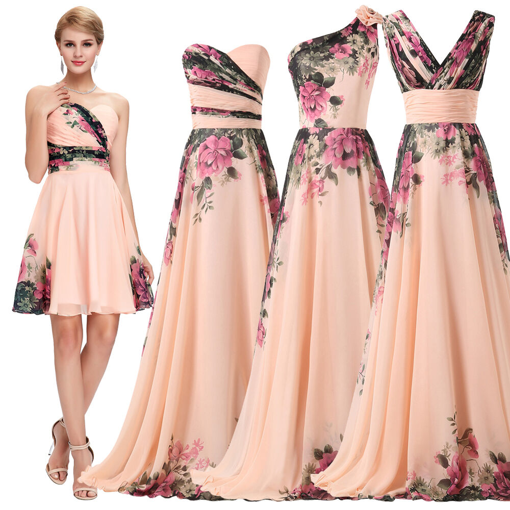 Long Gowns For Wedding Guests: Floral Wedding Guest Long Short Evening Party Formal Prom