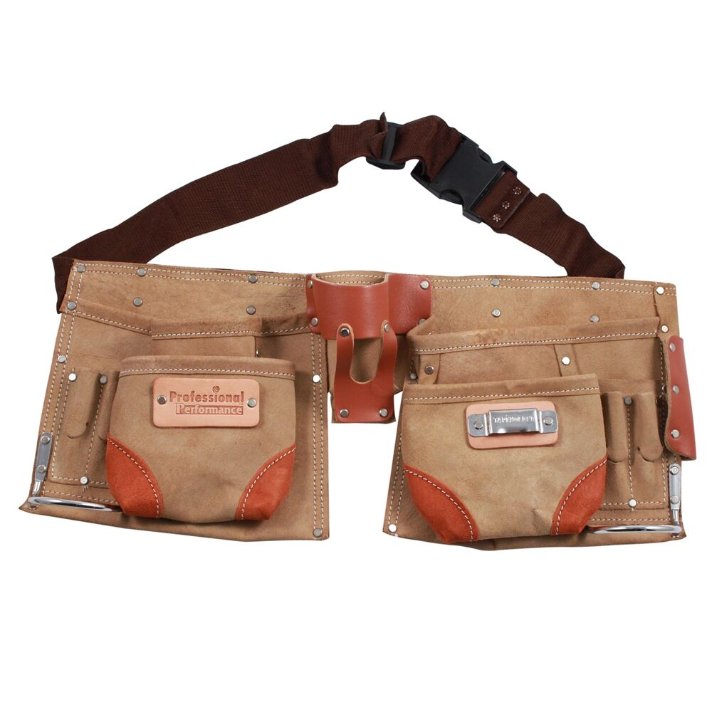 deluxe tool belt suede leather 12 pocket heavy duty