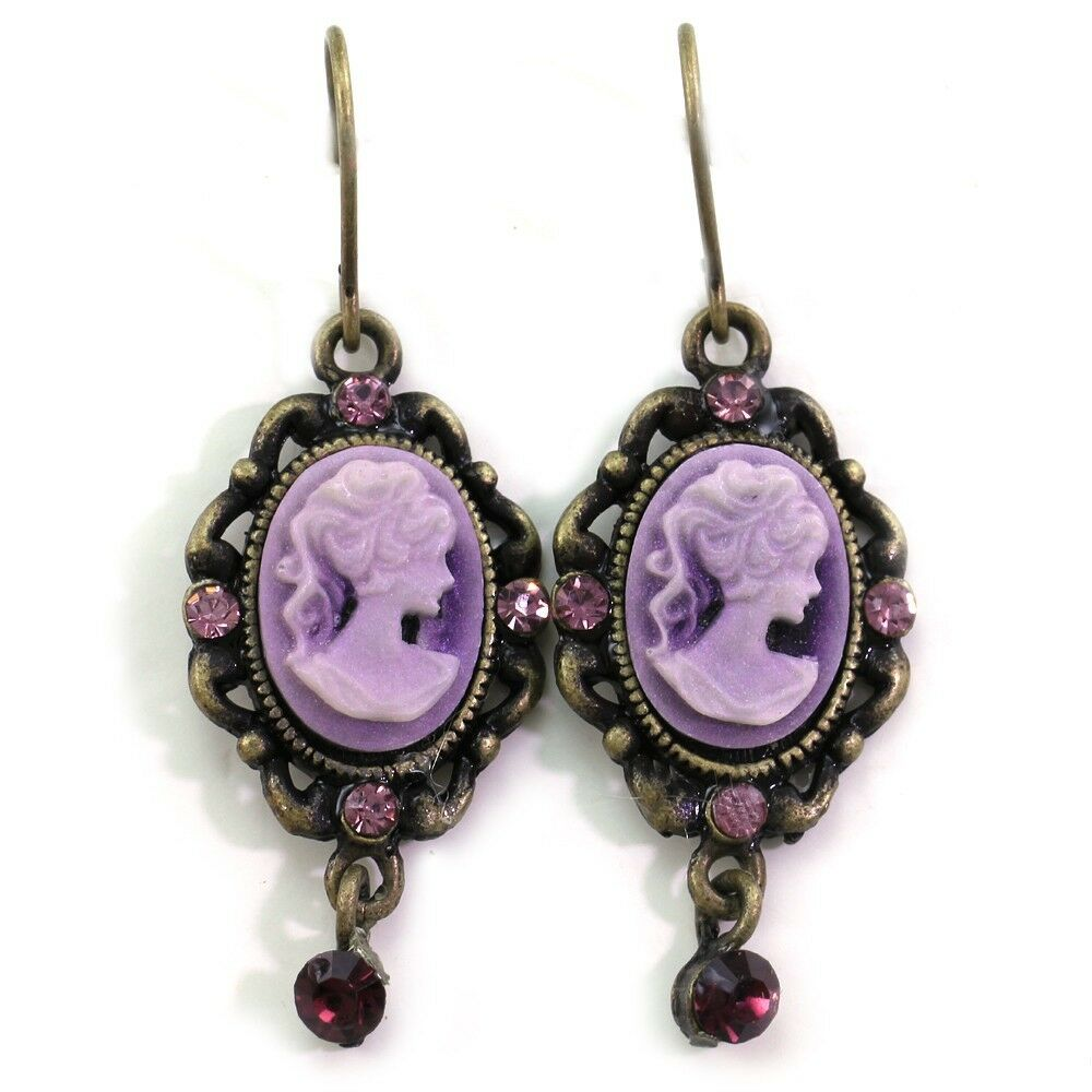 Antique Gold Brass Tone Victorian Style Purple Cameo Dangle Earrings Jewelry Q1 Ebay