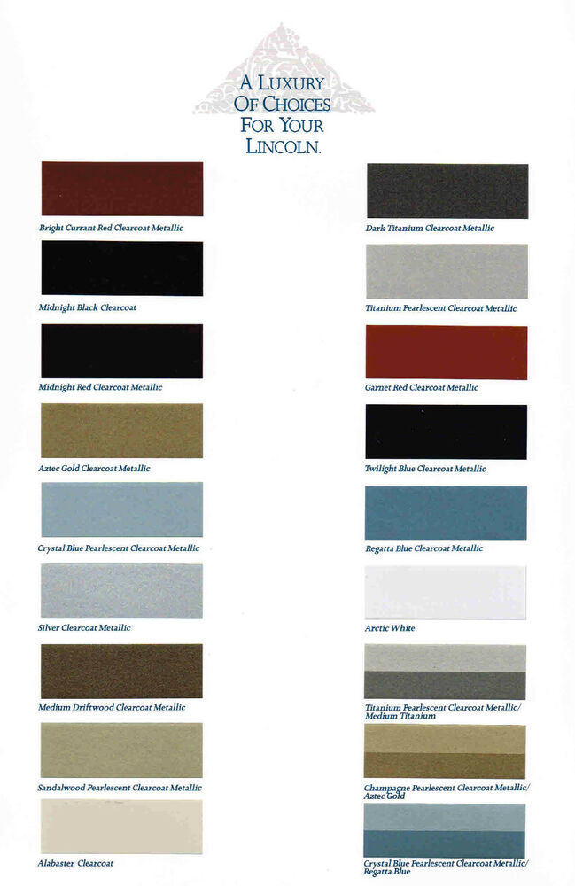 1990 Lincoln Paint Color Chart Brochure Continental Mark