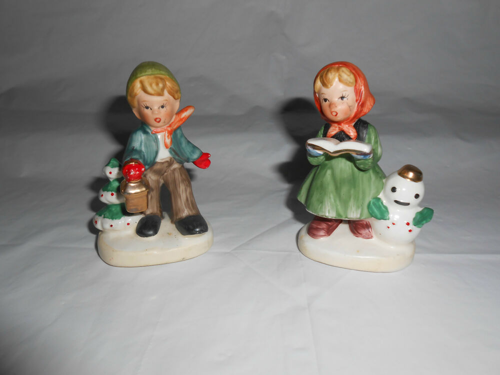 Pair of vintage napcoware christmas boy girl figurines