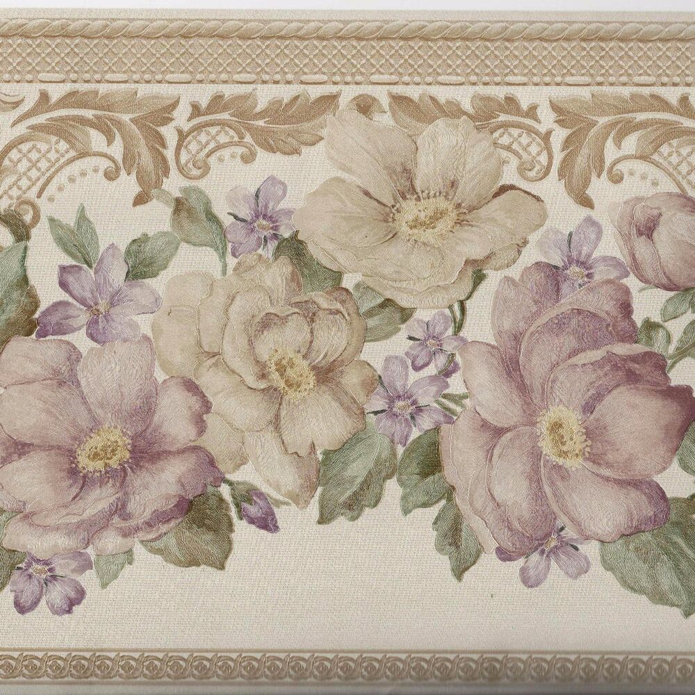 Victorian pink mauve flower ivory satin finish only 8 - Flower wallpaper border ...