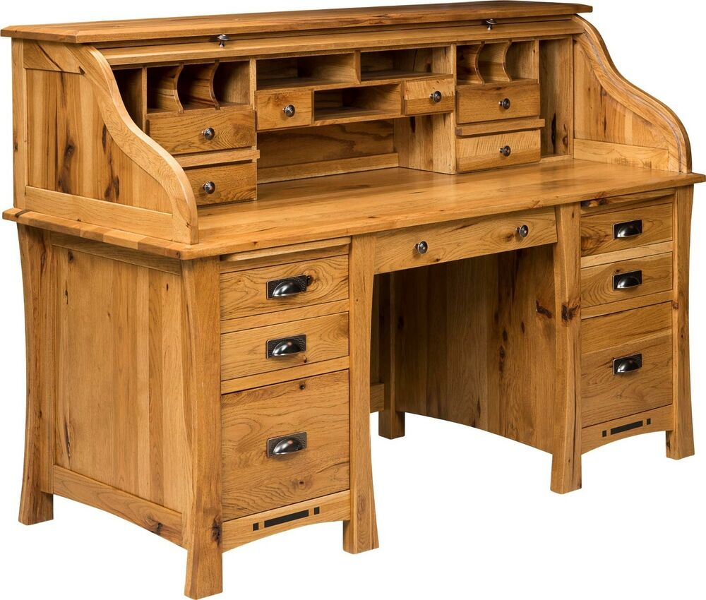 Amish mission craftsman roll top desk executive secretary for Solid wood furniture