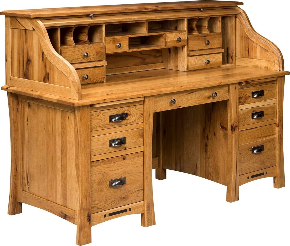 Amish mission craftsman roll top desk executive secretary for Hardwood furniture