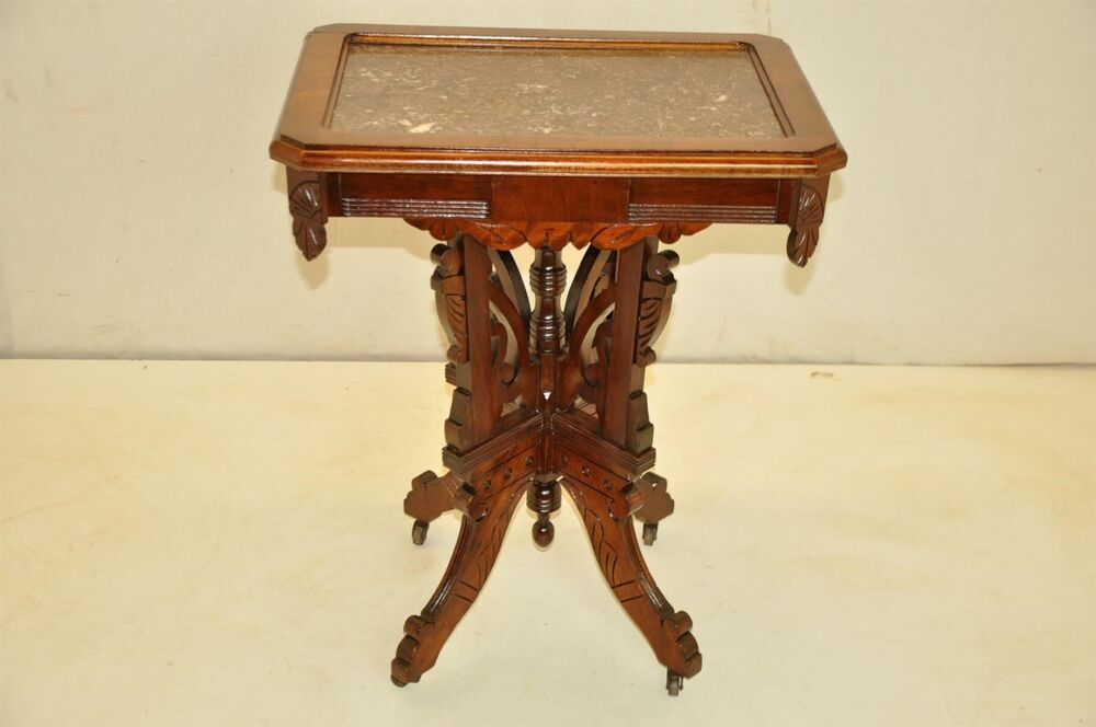 Beautiful Victorian East Lake Walnut Marble Top Carved