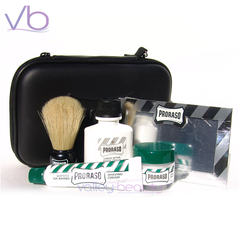 proraso shave travel kit shaving brush cream after care repair gel gift ebay. Black Bedroom Furniture Sets. Home Design Ideas